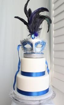 wedding photo - Masquerade, Venetian, Mask Cake Topper Royal Blue and Silver, Carnival