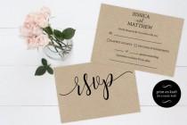 wedding photo - RSVP postcards templates - Wedding rsvp cards - rsvp online - rsvp Printable - kraft rsvp card - Downloadable wedding