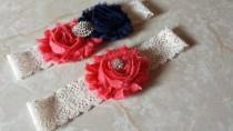 wedding photo - Coral / Navy Wedding Garter -  Bridal Garter Set - Ivory Stretch Lace -  Rhinestone embellishment.  .