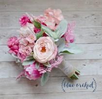 wedding photo - Pink and Cream Rustic Wedding Bouquet, Pink Wedding Bouquet, Peony Bouquet, Boho Bouquet