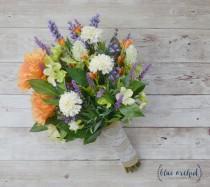 wedding photo - Wildflower Bouquet, Wedding Bouquet - Fall Wedding Bouquet, Fall Bouquet, Bridal Bouquet, Silk Bouquet, Lavender Bouquet, Silk Flowers, Fall