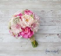 wedding photo - Pink Wedding Bouquet, Silk Bouquet, Peony Bouquet, Shabby Chic, Bouquet, Rustic, Silk Flowers, Faux Bouquet, Pink, Wedding Bouquets