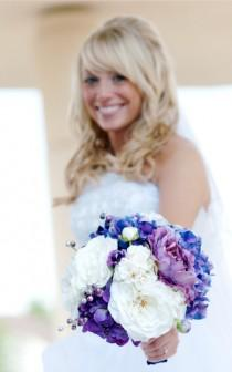 wedding photo - Purple Bouquet - Wedding Bouquet, Hydrangea, Peonies, Garden Roses
