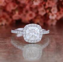 wedding photo - Forever One Moissanite Engagement Ring Halo Diamond Ring 7x7mm Cushion Cut Moissanite Gemstone Wedding Ring in 14k White Gold