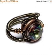 wedding photo - SALE 25% OFF - Steampunk Jewelry - Ring - Vitrail Swarovski Crystal