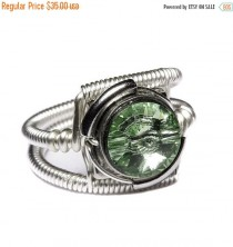 wedding photo - SALE 25% OFF - Steampunk Jewelry - Ring - Chrysolite Green Swarovski Crystal