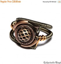 wedding photo - SALE 25% OFF - Steampunk Jewelry - Ring - Copper