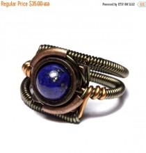 wedding photo - SALE 25% OFF - Steampunk Jewelry - Ring - Lapis Lazuli