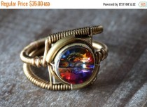 wedding photo - SALE 25% OFF - Steampunk Jewelry - RING - Volcano Swarovski Crystal (Custom size available - see description)