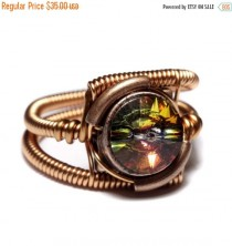 wedding photo - SALE 25% OFF - Steampunk Jewelry - RING - Copper with Volcano Swarovski Crystal