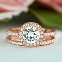wedding photo - 1.5 ctw Classic Round Halo Bridal Set, Man Made Diamond Simulants, Wedding Band, Halo Engagement Ring, Sterling Silver, Rose Gold Plated