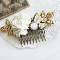 wedding photo - Wedding Hair Comb Bridal Hair Accessories Modern Victorian Headpiece White Flowers Hair Adornment Chintz Glamorous Pearl Hair Pin JW