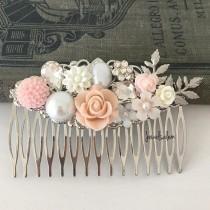 wedding photo - Elegant Wedding Hair Comb, Romantic Bridal Comb, Blush Pink Silver Headpiece, Pastel Flower Hair Clip, Whimsical, Bridesmaids Hair Slide