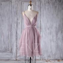 wedding photo - 2016 Lavender Chiffon Bridesmaid Dress, Deep V Neck Wedding Dress, Spaghetti Straps Prom Dress, A Line Cocktail Dress Knee Length (H276B)