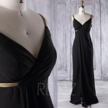 wedding photo - 2016 V Neck Black Chiffon Bridesmaid Dress Empire Waist, Gold Belt Backless Wedding Dress, Ruffle Split Prom Dress Floor Length (J075)