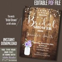 wedding photo - Bridal Shower Invitation, purple flowers mason jar, rustic wood invite, Instant Download, Printable Editable Digital PDF file A063