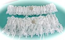 wedding photo - The Most Beautiful White Venice Lace Bride Garter Set