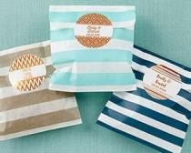 wedding photo - Beter Gifts® Striped Paper Favor Bags - Copper Foil