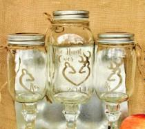 wedding photo - The Hunt is Over Unity Sand Set Buck & Doe Forming a Heart Deer Painted Mason Jars Redneck Wine Toasting Glasses Personalized Mr. Mrs.