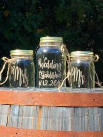 wedding photo - Unity Sand Set Painted Mason Jars Mr. and Mrs. Established Personalized Sand Ceremony Wine Set Choice of Fonts and Lids