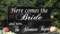 """wedding photo - Double Sided Flower Girl Ring Bearer Painted Soild Wood Wedding Signs """"and now, The Adventure Begins"""" """"Once upon a time """"   More"""