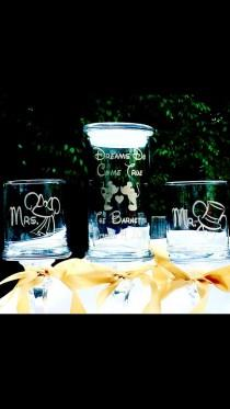 """wedding photo - Unity Sand Set """"Dreams do Come True"""" Personalized Mr. Mrs. Pedestal Apothecary Gold Painted Glass Ceremony Fairytale Wedding Choice Fonts"""