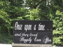 """wedding photo - Double Sided / Flower Girl Ring Bearer Sign / """"and they lived Happily Ever After"""" """"Once upon a time"""" / Ring Holder / Wedding / Painted Wood"""