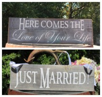 """wedding photo - Rustic Distressed """"Here comes the love of your life"""" """"Just Married"""" Double Sided Ring Bearer Flower Girl Wedding Sign Prop Painted Wood"""