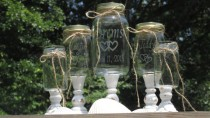wedding photo - Unity Sand Set Personalized Mason Jars Blended Family of 6 Farmhouse Distressed Toasting Glasses Linked Hearts Wood Stands