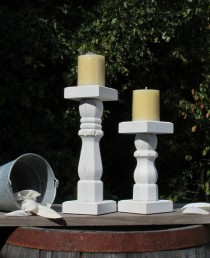 wedding photo - Wood Candle Holder Farmhouse Distressed Shabby Chic Candlestick Pillar Candle Stand Pair
