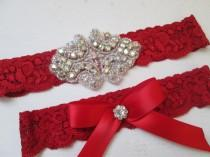 wedding photo - Red Wedding Garter Set, Red Lace Garter w/ Crystals Bling, Valentines Garter, Rustic Garters, Country Bride