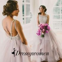 wedding photo - Sexy Long Prom/Wedding Dress - Ball Gown Backless with Beading