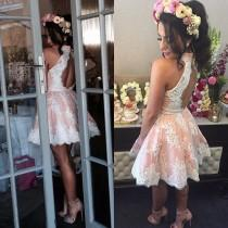 wedding photo -  Sexy High Neck Sleeveless Short Blush Homecoming Dress with White Lace Open Back