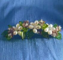 wedding photo - Pearl Flower Comb, Bridal Comb, Pearl and Purple Flower Comb, Flower Comb, Pearl Flower Fascinator, Bouquet Pearl and Glass Flower Comb