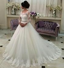 wedding photo -  Perfect 2017 New Long Sleeve A-Line Wedding Dresses Illusion Tulle Appliques Lace Vintage Wedding Dress Beaded Sash Bridal Gowns Lace Luxury Illusion Online with $1