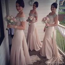 wedding photo -  Glamorous Long Bridesmaids Dresses Pink Off the Shoulder Sexy Sequins Formal Prom Party Gowns Mermaid Crysatals Evening Gowns Lace New Online with $99.43/Piece on H