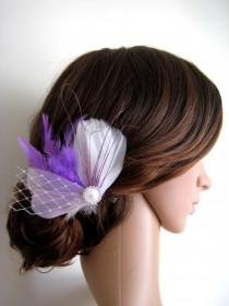 wedding photo - Wedding Bridal White Purple Lilac Feather Pearl Rhinestone Jewel Veiling Head Piece Hair Clip Fascinator Accessory