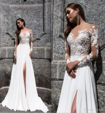 wedding photo -  Milla Nova Magnolia 2017 Jewel Neck Long Sleeve Sexy Wedding Dresses Vintage Illusion Wedding Dress Bridal Gowns Side Slit Lace Luxury Illusion Online with $148.58/