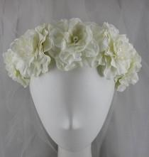 wedding photo - Ivory Bridal Flower Crown with Pearls, Ivory Flower Girl Flower Crown with Pearls, Ivory Wedding Flower and Pearl Hair Accessory