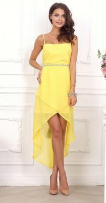 wedding photo - Yellow Day to day clothing women Chiffon Wedding Asymmetric Maxi Dress Summer Open shoulder dress Cocktail Party yellow dress