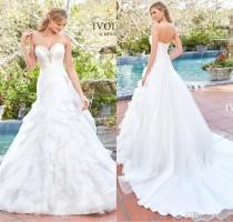 wedding photo -  Kitty Chen 2017 New Arrival A Line Organza Wedding Dresses Sweetheart Strapless Beaded Ruffles Wedding Dress Bridal Gowns White/Ivory Lace Luxury Illusion Online wi