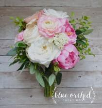 wedding photo - Silk Wedding Bouquet with Pink and Cream Peonies, Ranunculus, Cabbage Roses, Garden Roses and Greenery, Bridal Bouquet
