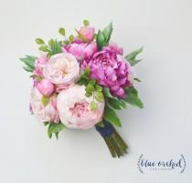 wedding photo - Silk Flower Bouquet - Wedding Bouquet, Peony Bouquet, Pink Peony Bouquet, Silk Peony Bouquet, Bright Pink, Blush, Cabbage Rose, Silk Flowers