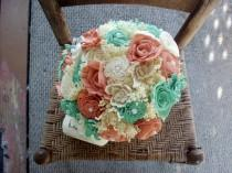 wedding photo - Mint blue and coral bouquet