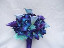wedding photo - Nicole's Silk Bridal Bouquet with Turquoise Hydrangeas, Blue Orchids, Calla Lilies Galaxy,Singapore