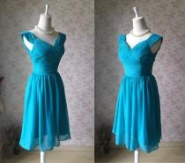 wedding photo - 2017 Teal Short Bridesmaid Dress Short Prom Dress.Party Graduation Dress. Chiffon Teal Dress. Bridesmaid Dress Short. Any Size(WD48)