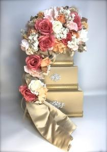 wedding photo - Wedding Card Box Holder Coral Pink Orange Ivory Gold Elegant Unique Secured Lock Wedding Card Box Diamond Wedding Card Box Gold Wedding