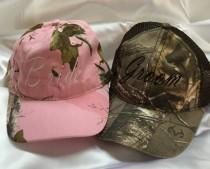 wedding photo - Mr and Mrs Cap, Camo Bride Cap, Groom Cap, Bridal Cap, Bachelorette Cap, Honeymoon Gifts, Personalized Wedding Gift, Camo wedding cap