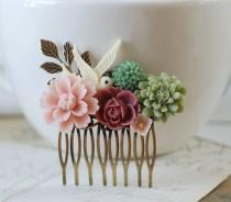 wedding photo - Sage Green and Dusky Pink Flowers Collage Hair Comb. Brass Leaf  Ivory Bird Wedding Bridal Hair Comb