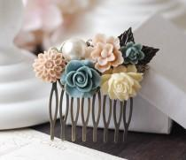 wedding photo - Wedding Bridal Flower Collage Hair Comb. Ivory Dusk Blue Rose, Pale Pink Flower, Pearl Flowers Hair Comb. Bridal Wedding headpiece